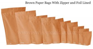Brown Paper Bags With Zipper and Foil Lined