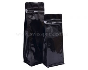 Shiny Black Pouches with Zipper