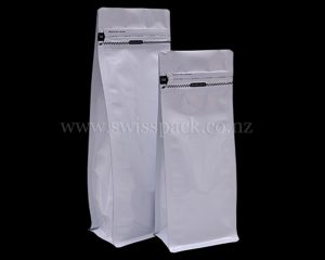 Shiny White Pouches with Tear Off Zipper